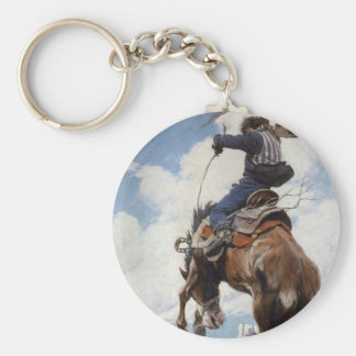 Vintage Western Cowboys, Bucking by NC Wyeth Key Ring