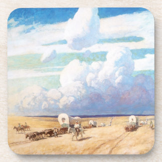 Vintage Western Cowboys, Covered Wagons by Wyeth Drink Coaster