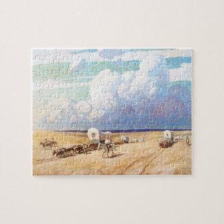 Vintage Western Cowboys, Covered Wagons by Wyeth Jigsaw Puzzle