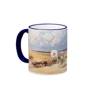 Vintage Western Cowboys, Covered Wagons by Wyeth Ringer Mug