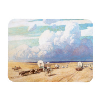 Vintage Western Cowboys, Covered Wagons by Wyeth Rectangular Photo Magnet