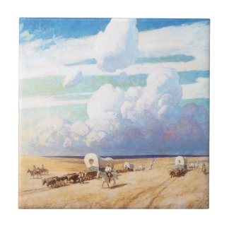 Vintage Western Cowboys, Covered Wagons by Wyeth Small Square Tile