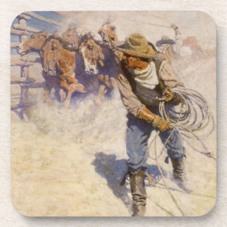 Vintage Western Cowboys, In the Corral by NC Wyeth Coaster
