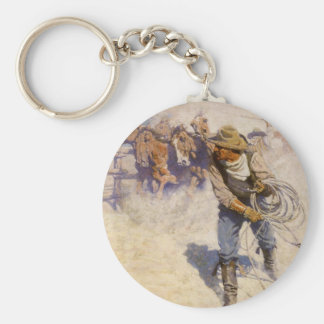 Vintage Western Cowboys, In the Corral by NC Wyeth Key Ring