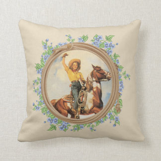 Vintage Western Cowgirl Horse With Rope Flowers Cushion