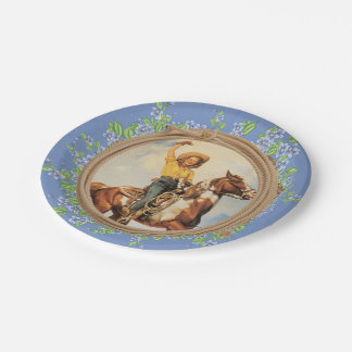 Vintage Western Cowgirl Horse With Rope Flowers Paper Plate