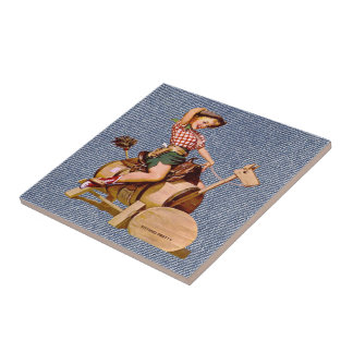 Vintage Western Cowgirl On Wooden Horse Ceramic Tile