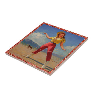 Vintage Western Cowgirl With Rope Ceramic Tile