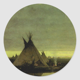 Vintage Western, Indian Camp at Dawn by Tavernier Classic Round Sticker