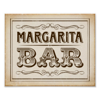 Vintage Western MARGARITA BAR Sign Print