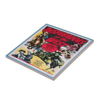 Vintage Western Movie Poster Desperados Tile
