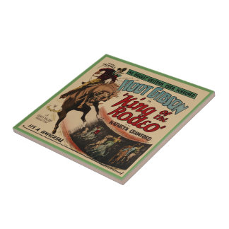 Vintage Western Movie Poster King Of The Rodeo Tile