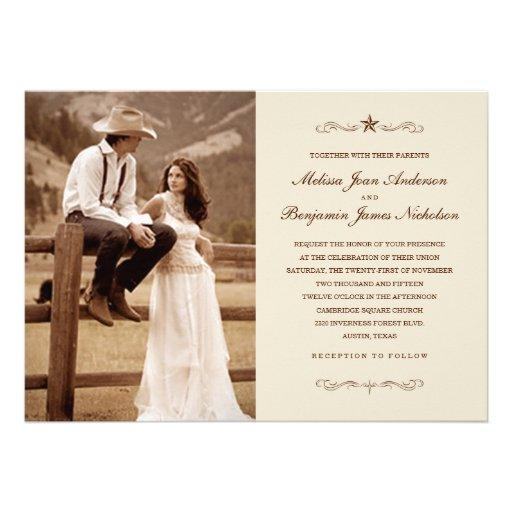 Vintage Western Photo Wedding Invitations