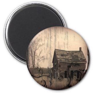 Vintage Western Rustic farm barn Country Wedding 6 Cm Round Magnet