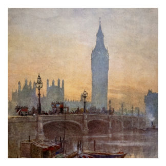 Vintage Westminster Bridge Big Ben London England Poster