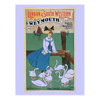 Vintage Weymouth London and SW Railway ad Postcard