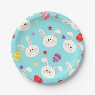 Vintage whimsical bunny and egg turquoise pattern 7 inch paper plate