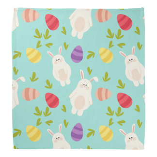 Vintage whimsical bunny and egg turquoise pattern bandana