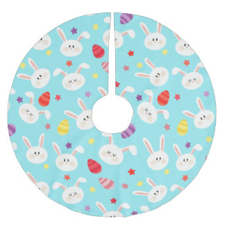 Vintage whimsical bunny and egg turquoise pattern brushed polyester tree skirt