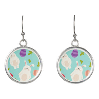 Vintage whimsical bunny and egg turquoise pattern earrings