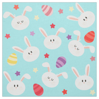 Vintage whimsical bunny and egg turquoise pattern fabric