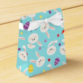 Vintage whimsical bunny and egg turquoise pattern favour box