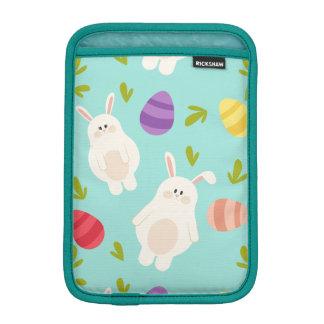 Vintage whimsical bunny and egg turquoise pattern iPad mini sleeve