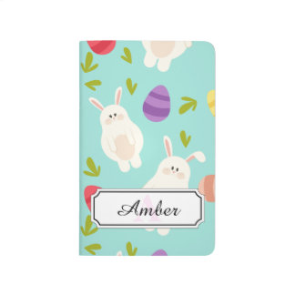 Vintage whimsical bunny and egg turquoise pattern journal