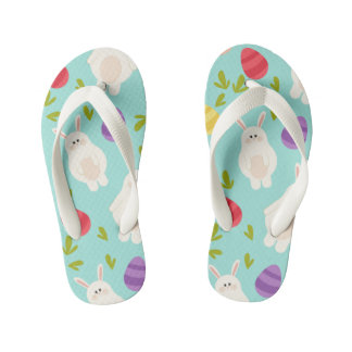 Vintage whimsical bunny and egg turquoise pattern kid's thongs
