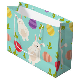 Vintage whimsical bunny and egg turquoise pattern large gift bag