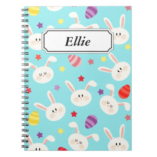 Vintage whimsical bunny and egg turquoise pattern notebooks