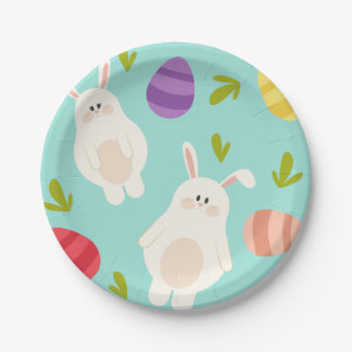 Vintage whimsical bunny and egg turquoise pattern paper plate