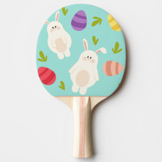 Vintage whimsical bunny and egg turquoise pattern ping pong paddle