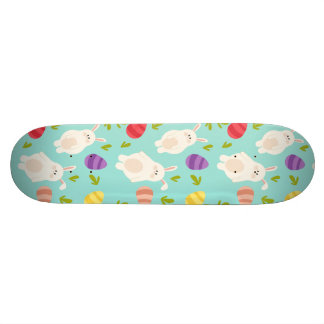 Vintage whimsical bunny and egg turquoise pattern skateboard