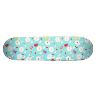 Vintage whimsical bunny and egg turquoise pattern skateboard deck