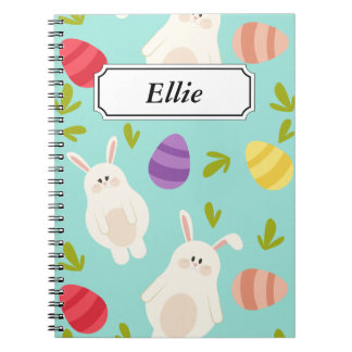 Vintage whimsical bunny and egg turquoise pattern spiral notebook