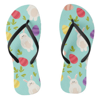 Vintage whimsical bunny and egg turquoise pattern thongs