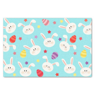 Vintage whimsical bunny and egg turquoise pattern tissue paper