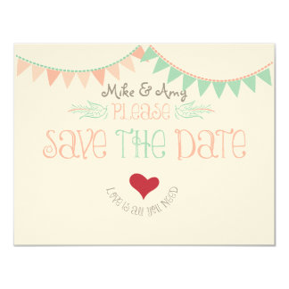 Vintage Whimsical Bunting Save the date 11 Cm X 14 Cm Invitation Card