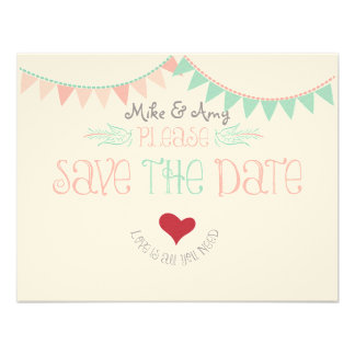 Vintage Whimsical Bunting Save the date Personalized Announcements