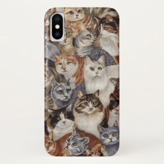 Vintage Whimsical Cat Pattern Apple iPhone X Case