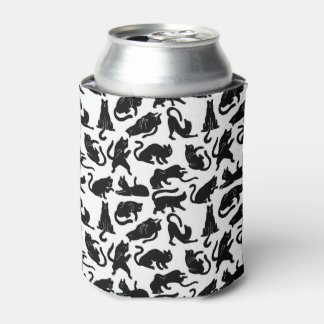 Vintage Whimsical Cat Pattern Fabric Can Cooler