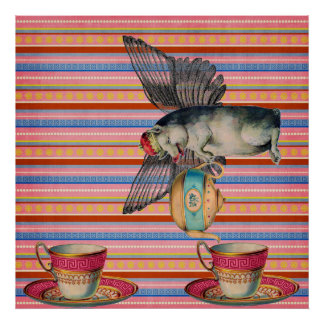 Vintage Whimsical Collage Flying Pig Serving Tea Posters