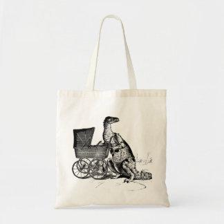 Vintage Whimsical Dinosaur Baby Carriage momzilla Budget Tote Bag