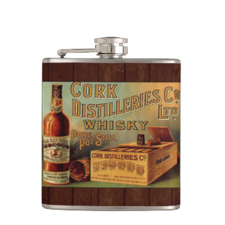 Vintage Whiskey Label Hip Flask