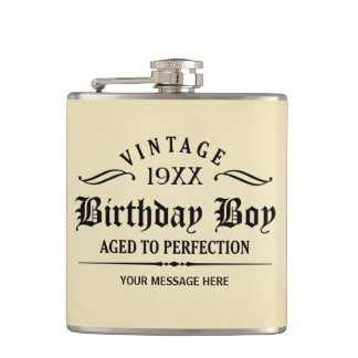 Vintage Whiskey Person Funny Birthday Flask