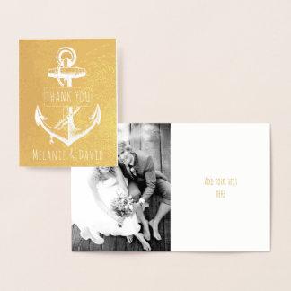 Vintage white anchor nautical wedding gold foil card