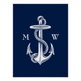 Vintage White Anchor Rope Navy Blue Background Poster