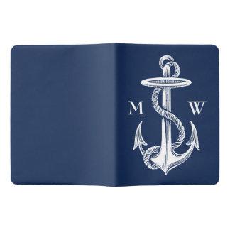 Vintage White Anchor Rope Navy Blue Monogram Extra Large Moleskine Notebook