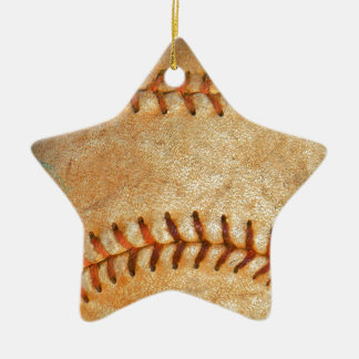Vintage White Baseball red stitching Ceramic Star Decoration